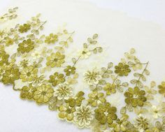6 Inches Wide LaceOlive Green FloralEmbroidered by NivaAccessories