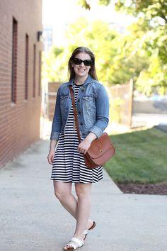 Something Good Style   striped dress, swing dress, old navy, saddle bag, coach classic band, slide sandals, jean jacket, denim jacket, kendra scott necklace, rayne
