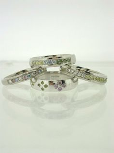 Candy Colours collection, stunning coloured diamond bands available in Gold Platinum and Palladium  http://www.facebook.com/pages/The-Benchbespoke-jewellery-Open-7-days-a-week/332567550184502?fref=pb  #genuinejersey