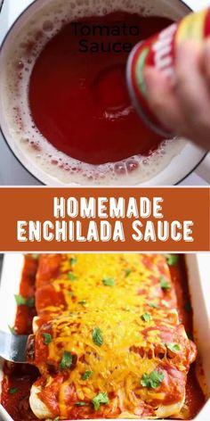 Sauce Enchilada, Recipes With Enchilada Sauce, Homemade Enchilada Sauce, Homemade Enchiladas, Homemade Sauce, Authentic Enchilada Sauce, How To Make Enchiladas, Mexican Dishes, Mexican Food Recipes