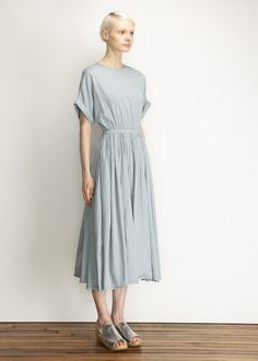 Totokaelo - Black Crane Aqua Pleats Dress