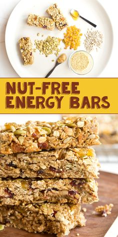 Add these nut-free energy bars to your 5 day meal plans to ensure that you'll never go hungry! It's the perfect addition to any breakfast, or to be eaten simply as a snack. Healthy Bedtime Snacks, Healthy Snacks For Kids, Healthy Breakfasts, Healthy Bars, Healthy Shakes, Eating Healthy, 100 Calorie Snacks, High Protein Snacks, Clean Eating Desserts