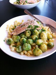 comfortable food - salmon with brussel sprouts and pasta recipe - comfortablefood.com