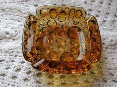 SALE Set of Two Blenko AMBER Bubble Glass Ashtrays 1950s 10% Discount by BESTBUYONLINES, $12.00