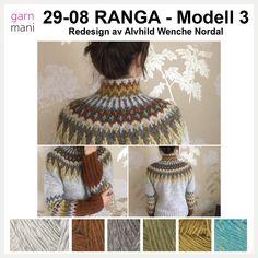 Denne utrolig flotte varianten av Ranga er strikket og redesignet av Alvhild Wenche Nordal. Oppskriften er skrevet ned av oss i Garnmani, og er gjort om fra bruk av både Alafosslopi og Lettlopi til…