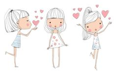 Find Cute Baby Kids stock images in HD and millions of other royalty-free stock photos, illustrations and vectors in the Shutterstock collection. Illustration Mignonne, Illustration Mode, Cute Girl Illustration, Cute Kids, Cute Babies, Baby Kids, Doodle People, Arte Popular, Creative Sketches