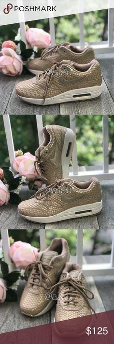 sports shoes 90d70 8336c NWT Nike Air Max 1 Beige Gold W