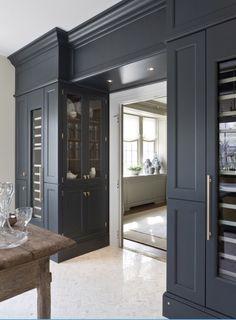 """Living/bar room - LOVE  Wood-mode's """"vintage navy"""" color"""