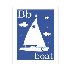 Children's Wall Art / Nursery Decor B is for Boat 8x10 inch print.