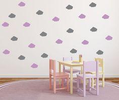 Fluffy Cloud Wall Decals Set Of Cloud by RunWildVinylDesigns