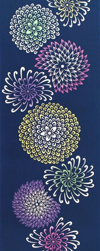 chrysanthemum blue tenugui