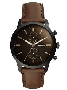 Fossil Men Townsman Stainless Steel and Leather Casual Quartz Watch Herren Chronograph, Fossil Watches For Men, Mens Watches For Sale, Men's Watches, Navy Seal Watches, Digital Sports Watch, Schmuck Online Shop, Brown Leather Strap Watch, Conkers