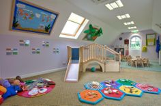 Picture show very clean and safe nursery room offer the children environment where they will grow learn with friendly environment and they feel secure.