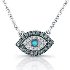 Victoria Kay 14k White Gold Treated Blue Diamond, White Diamond and Turquoise Evil Eye Necklace (1/5cttw, JK, I2-I3) Blue Diamond