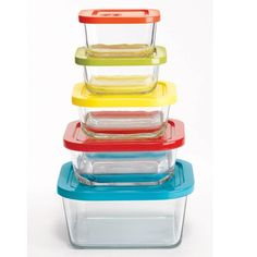 "These 5 square glass bowls are freezer and dishwasher safe, making them extra useful! Each lid has a date dial to track freshness of food and has a different colored lid. Smallest - orange, small - light green, medium - yellow, large - red, largest - blue. Ranging from smallest to largest: approx. 3 1/2"" W–6 2/3"" W x 1 1/2"" H–2 3/4"" H. They hold approx. 5 oz. to 37 oz. Imported."