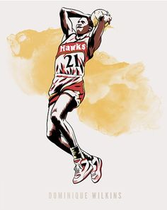 Limited Edition Print of Dominique Wilkins (The Human Highlight Film), Atlanta Hawks (Limited to 50 prints) Signed and numbered (by Joel Kimmel, not Dominique! Printed on heavy archival photo stock with archival inks. Image Size: x Paper Size: x Sports Art, Sports Fan Shop, Sport Editorial, Dominique Wilkins, Atlanta Hawks, Nba Players, Photo Archive, Limited Edition Prints, Paper Size
