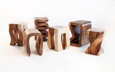 natural acacia stools from www.asianartimports.com