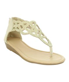 Look at this Eddie Marc Kids Beige Cutout Wedge Sandal on #zulily today!