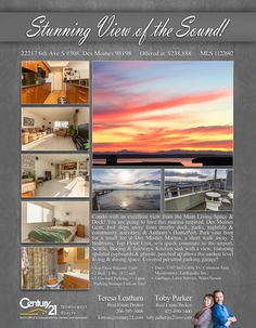 PENDING - Cheers to Toby Parker & Teresa Leatham  Stunning View of the Sound from the Main Living Space & Deck! You are going to love this marina-inspired, Des Moines Gem. Top floor 2 bedroom unit.   A Quick commute to the airport, Downtown Seattle & Water access. Just steps away from nearby dock, parks, nightlife & community activities. Park your boat for a small fee at Des Moines Marina, a short walk away.  Kitchen sink w/a view featuring updated cupboards & granite, perched up above the…