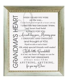 Look at this The Grandparent Gift Co. 'Grandma's Heart' Poem Framed Print on today! Grandmother Poem, Baby Poems, Prayer Room, Thoughts Of You, Grandparent Gifts, Light Of My Life, Words To Describe, Family Quotes, Grandparents