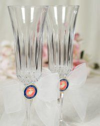 Military Wedding Toasting Glasses    This beautiful porcelain wedding toasting glasses set features the Army, Navy, Air Force, or Marine military seals on an organza bow. Glasses made of crystal. Organza bow available in White and Ivory.