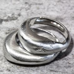 Sterling Silver Stacking Sand Cast Boulder Ring Set by The Jewellery Boutique, the perfect gift for Explore more unique gifts in our curated marketplace. Chunky Silver Rings, Chunky Jewelry, Gold Rings, Silver Jewelry, Silver Rings Handmade, Diamond Jewelry, Silver Earrings, Wax Ring, Sand Casting