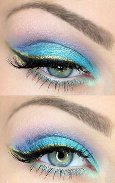 Pastel colors and gold eye liner. I'm diggin it....beauty and cosmetics (makeup)