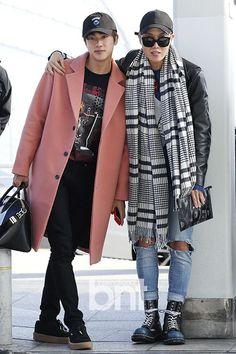 BTS fashion, Jin rocking that coat- Jhope that scarf.