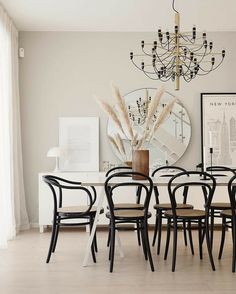 Home Decor Bedroom .Home Decor Bedroom Mismatched Dining Chairs, Black Dining Chairs, Bentwood Chairs, Blue Bookshelves, Dining Room Design, Dining Rooms, Dining Tables, Dining Area, Scandinavian Furniture