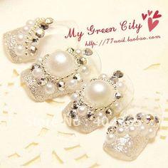 rhinestone pearl nails