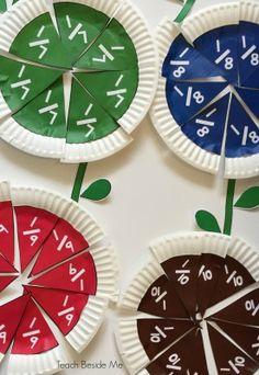 60 Elementary Hands-On Math Teaching Ideas – Teach Beside Me Learning Fractions, Teaching Math, Teaching Ideas, Dividing Fractions, Multiplying Fractions, Equivalent Fractions, Fraction Activities, Math Activities, Fraction Art
