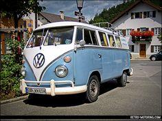 Blue and White VW Type 2 Split Screen camper van in Partenkirchen by retromotoring, via Flickr