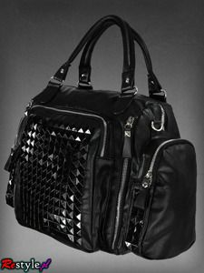 big studded bag with black pyramid studs A4 adjustable strap
