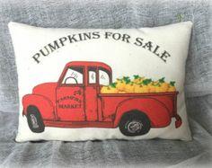 Vintage Red Truck | Pumpkin Truck | Red Truck | Harvest pillow | Pumpkin harvest | Pumpkins for Sale | Fall Decoration | Farmhouse fall