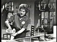 The French Chef hosted by Julia Child, public television station in Boston, MA, from February 11, 1963 to 1973. It was one of the first cooking shows on television. This is the second episode from the first series. All rights belong to the Cooking Channel....Takes a few minutes to get to the recipe because she gives a lesson on knives first. At the end don't brown as long as she did because it'll burn the cheese.
