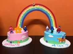 Trolls | 20+ Rainbow Cakes & Party Ideas - click over to RoseBakes.com for tons of beautiful Rainbow cake and party ideas for your Rainbow themed party! #cake #cakes #rainbow #rainbowcakes #stpatricksday