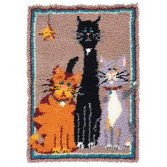 Whimsical cats are depicted in this exclusive latch hook rug. Rug Hooking Kits, Latch Hook Rug Kits, Craft Kits For Kids, Diy Pillows, Rug Making, Diy Craft Projects, Yarn Crafts, Craft Supplies, Needlework