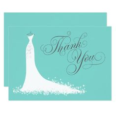 "Bridal Shower Flat Thank You Cards | Wedding Gown Elegant bridal shower or wedding ""Thank You"" note cards for the stylish bride-to-be features an ornate calligraphy script font and flowing wedding gown. Scroll flourish, flower and butterfly details accent the ethereal dress. Flat card format includes space on the back for a handwritten message. Design colors include white, aqua / pool blue, and charcoal gray."