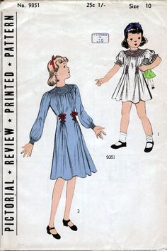 1930's Girls Frock  Pictorial Review 9351  Size 10  by HelaQ, $18.00