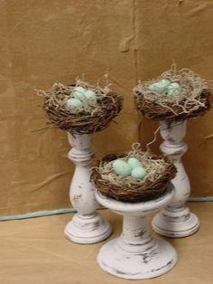 MANY inspired ideas use my white 3 candlesticks and new birds nest....? birds