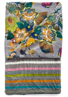 Fowl Play Throw Blanket by Karma Living - Multi, Green, Blue, Pink, Gold, Floral, Grey, Stripes, Winter