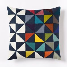 Wallace Sewell Multi Pinwheel Crewel Pillow Cover - want to make with quilt pieces