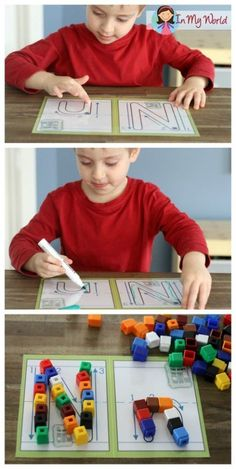 Alphabet play dough mats. Students start by finger tracing a letter, then using a dry-erase marker, and then building the letter using small objects.