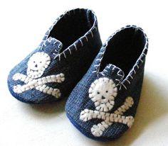 Baby shoes Denim Baby Boy Skull Mocs Size by ShesSoCraftyGoods1, $26.00