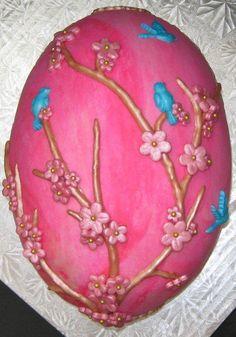 Spring blossom Easter egg - Cake by Deborahanne