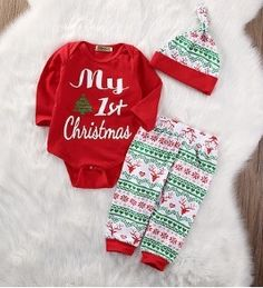 "MY FIRST CHRISTMAS TREE SET PRICE $12.99 OPTIONS: 0/6M, 6/12M, 12/18M, 18/24M To purchase: comment ""sold"", size & email"