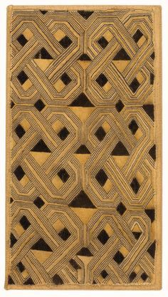 "Africa | ""Velvet"" cloth from the   Shoowa People of the Kuba Kingdom of DR Congo 