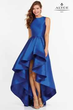 Alyce Paris 6826 is a beautiful bateau neck style dress with a low-high skirt, low V back and a thin belt at the waist.