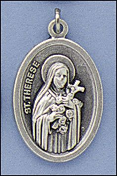 Blessed By Pope Francis St Saint St Theresa Therese of Little Flowers Patron Patroness of the Missions Pray for Us Medal Silver Oxidized. Pray for us - Italy in back of the medal - size - about 3/4 of an inch. Blessed by Pope Francis. Silver Oxidized Saints Medals come on a convenient jump ring, ready for a stainless steel chain. -- Silvertone. Made in Italy, this medal will never rust. Beautiful keepsake for years to keep.