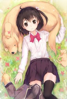anime girl with dogs